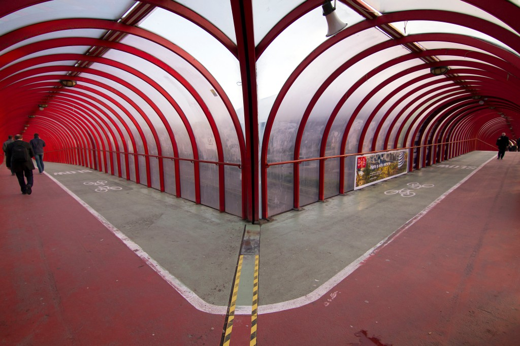 The Bendy Straw Walkway - Clydeside Expressway - Glasgow, Scotland - wide angle