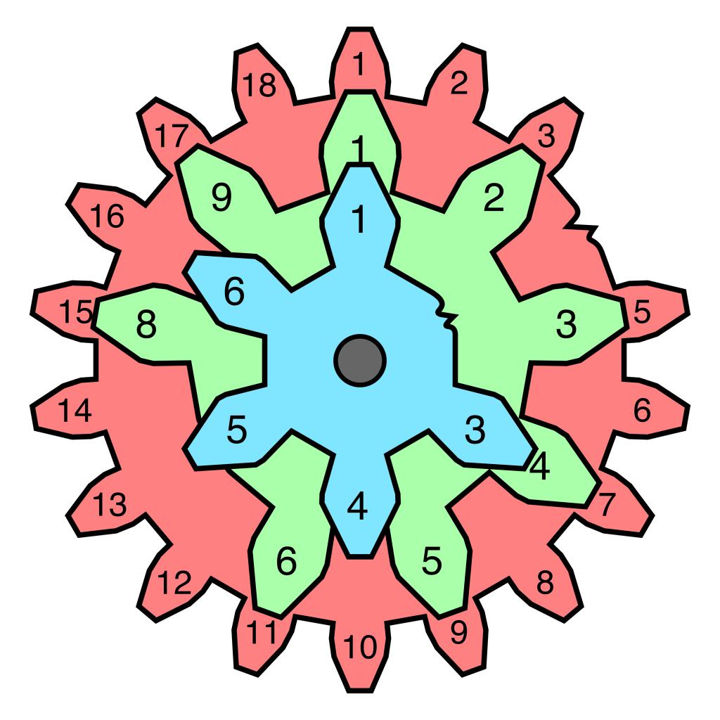 Gears - 6,9,12 - broken teeth - aligned