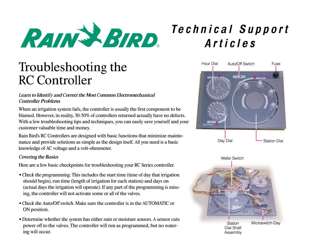 Rain Bird RC Troubleshooting Guide Excerpt