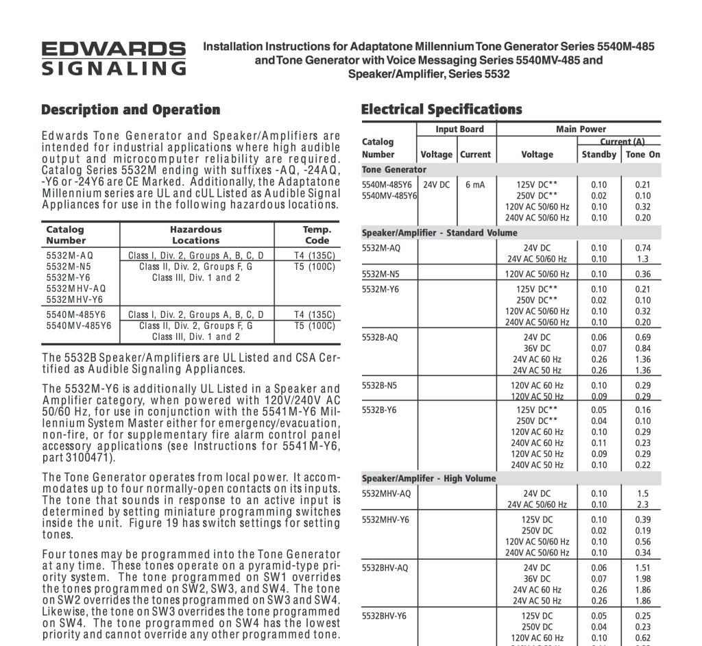 Edwards Signaling i-5540m-485
