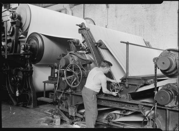 Mt. Holyoke, Massachusetts - Paper. American Writing Paper Co. Cylinder machine (making matchboard), 1936