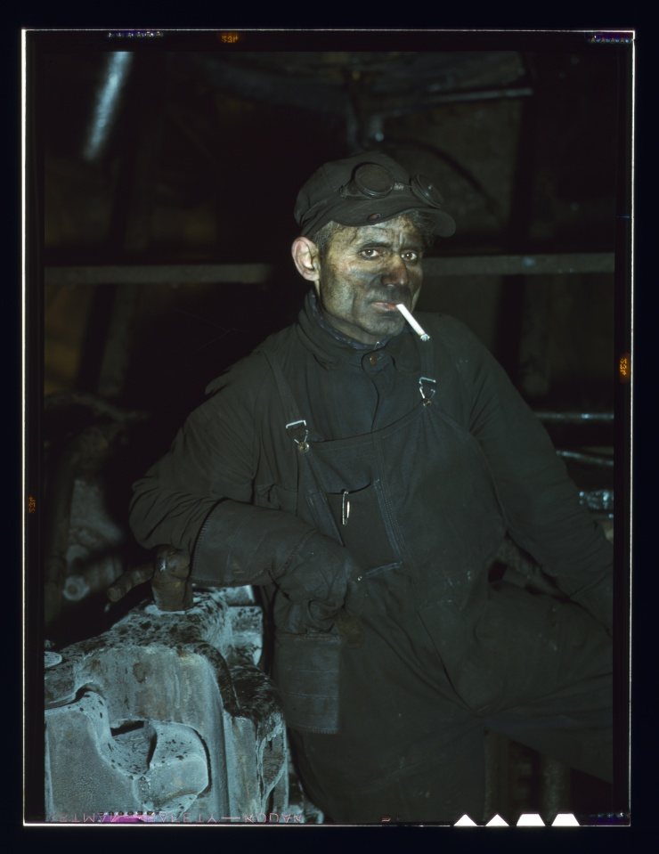 Melrose Park (near Chicago), Ill, C&NWRR. William London has been a railroad worker 25 years - now working at the roundhouse at the Proviso yards (LOC)