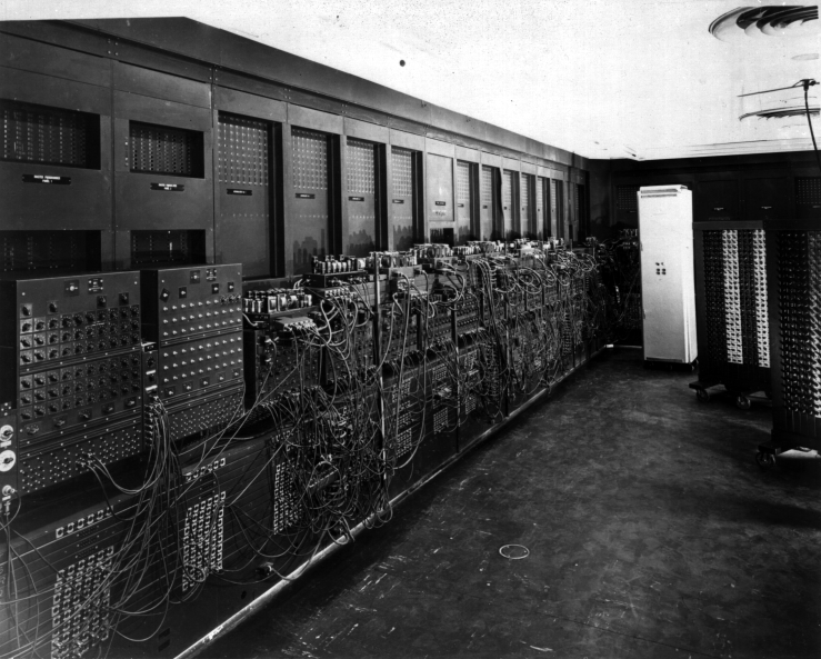 Left side of ENIAC as installed in BRL Bldg 328 (US Army Photo, from the archives of the ARL Technical Library)