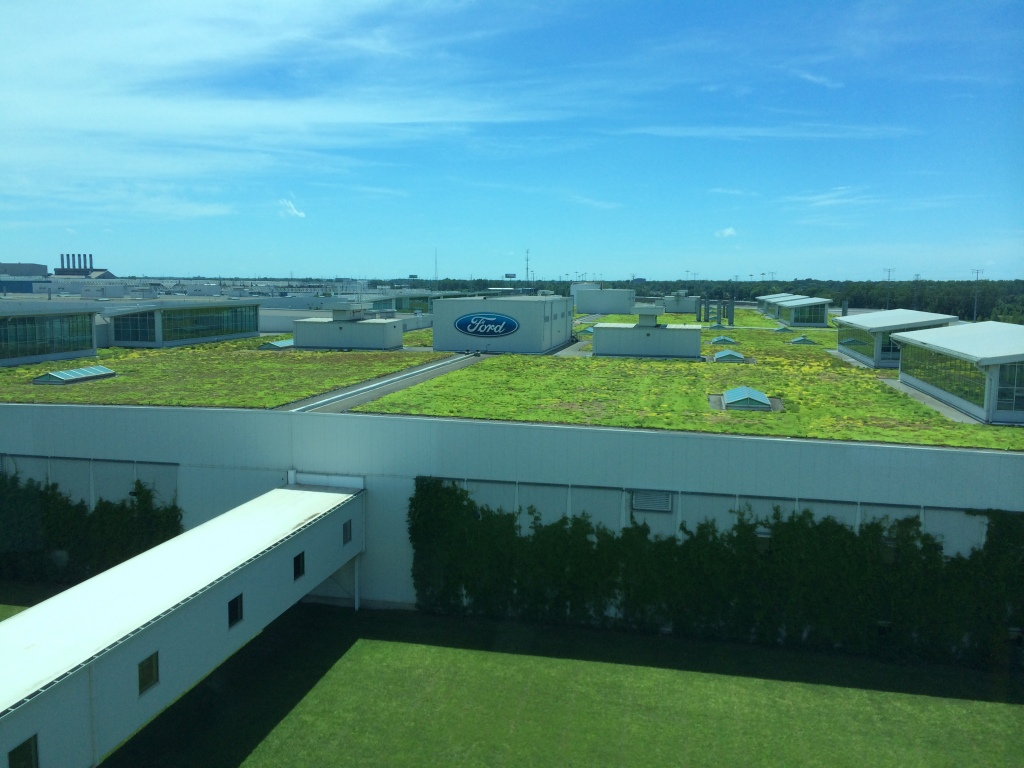 The living roof on top of the final assembly building of Ford's Rouge Dearborn Truck Plant