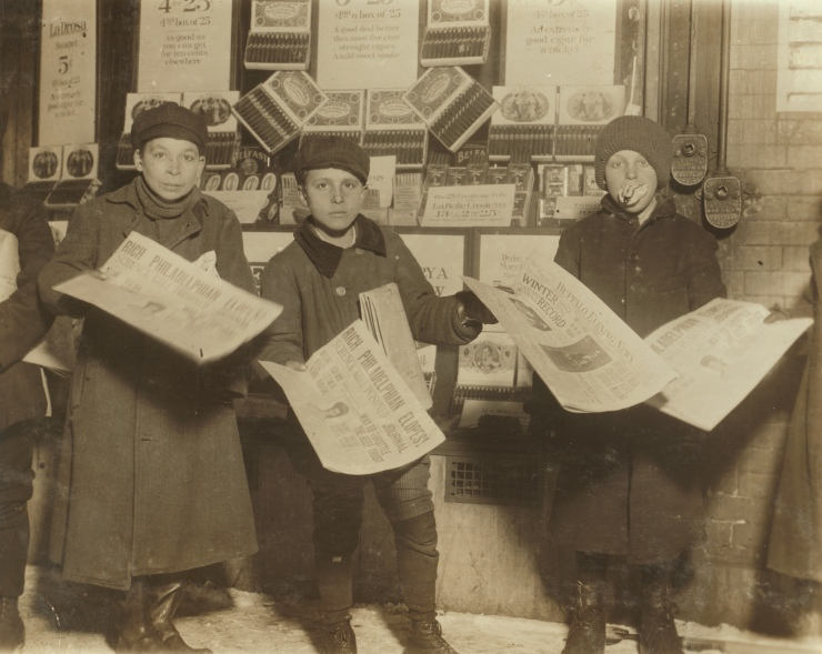 Italian newsies selling on Main St. at 10 P.M. - February, 1910 - Buffalo, New York