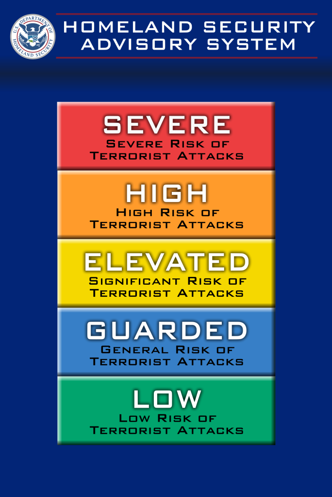 Homeland Security Advisory System color chart