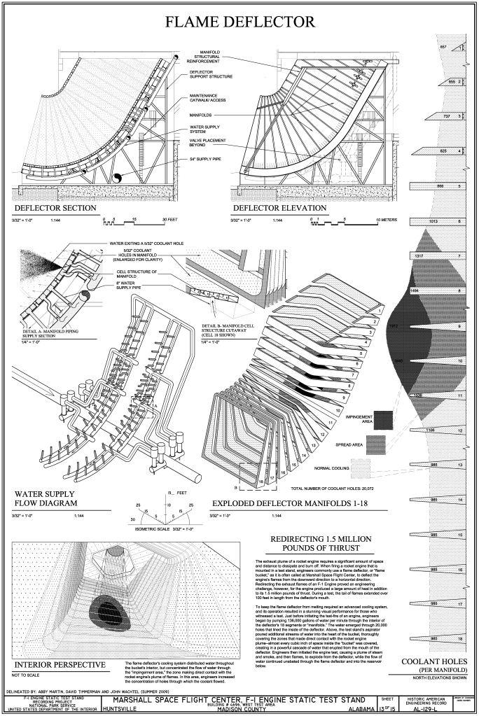 Flame Deflector - Section, Elevation, Water Supply Flow Diagram, Exploded Deflector Manifolds, and Interior Perspective - Marshall Space Flight Center, F-1 Engine Static Test Stand