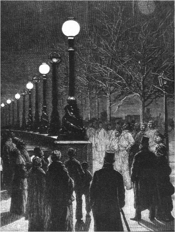 Jablochkoff Candles on the Victoria Embankment - December, 1878