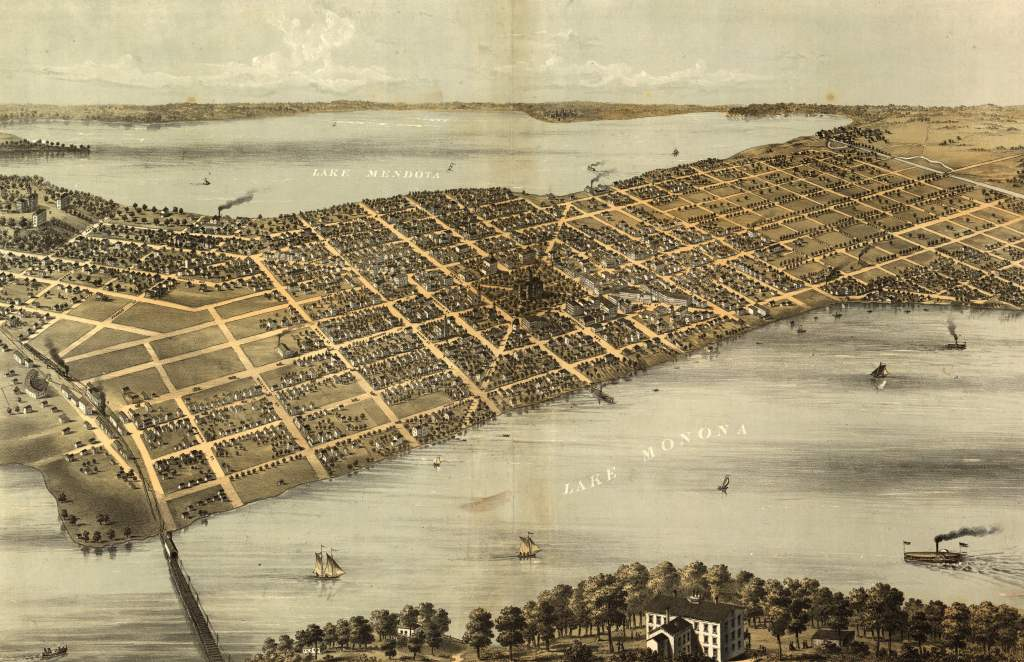 Map of Madison, Wisconsin - 1867 - A. Ruger - Chicago Lith. Co. (Library of Congress, 73694546)
