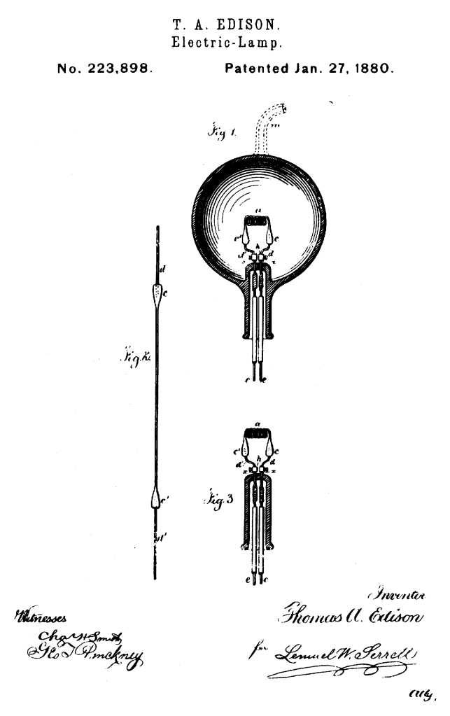 Thomas Edison - Electric-Lamp - US Patent 223898 - Issued January 27, 1880