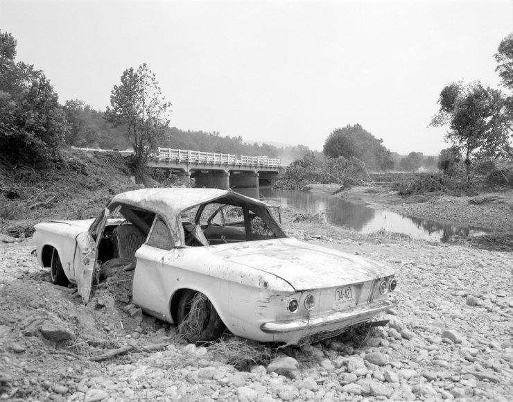 Rt. 56 over Tye River - 1961 Chevy Corvair Monza - No. 69-2198, Virginia Governor's Negative Collection, Library of Virginia