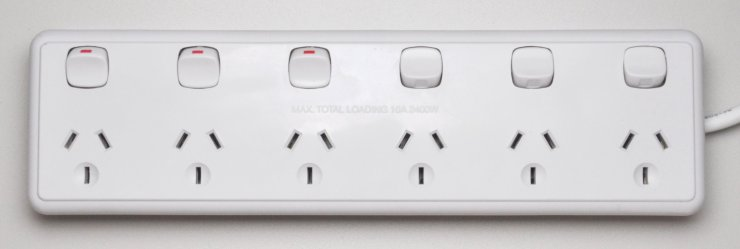 An Australian power strip with individual switches for each outlet